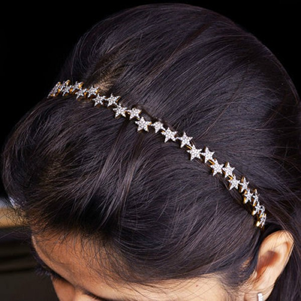 Bridal Headband 6.2 Ct Natural Certified Diamond 925 Sterling Silver Diamond Crown