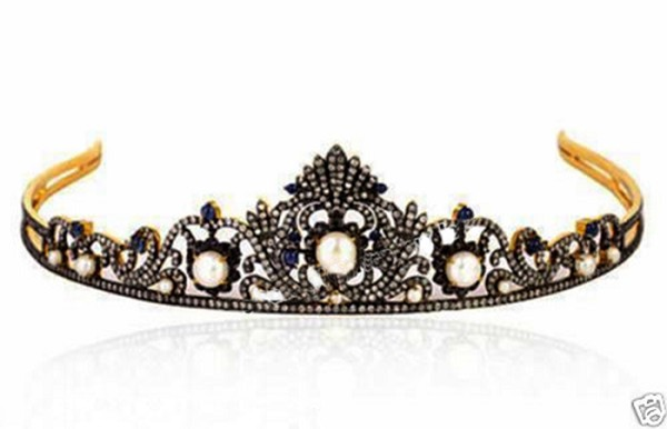Princess Tiaras And Crowns 7.5 Ct Natural Certified Diamond Pearl Sapphire 925 Sterling Silver Art Deco