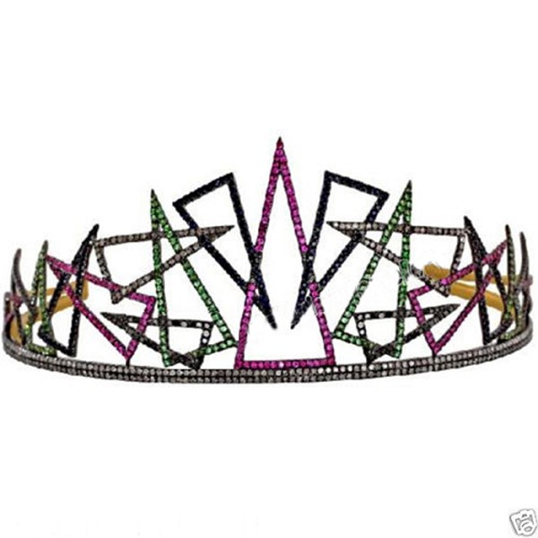 Head Pieces 9 Ct Natural Certified Diamond Ruby Emerald 925 Sterling Silver Mugal Inspried