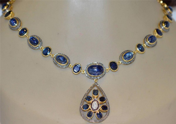 Victorian Diamond Necklace 7.6 Ct Natural Certified Diamond Blue Sapphire 925 Sterling Silver Wedding