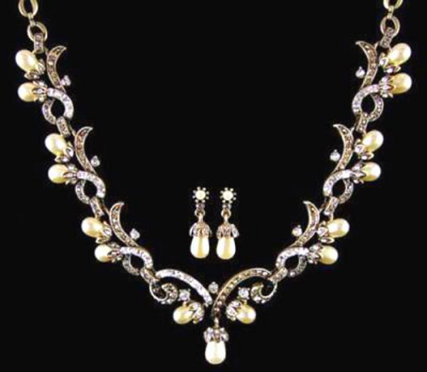 Rose Cut Diamond Necklace 5 Ct Natural Certified Diamond Pearl 925 Sterling Silver Wedding