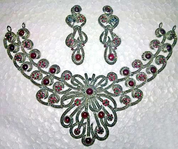 Vintage Style Necklaces 16 Ct Natural Certified Diamond Ruby Sapphire 925 Sterling Silver Vacation