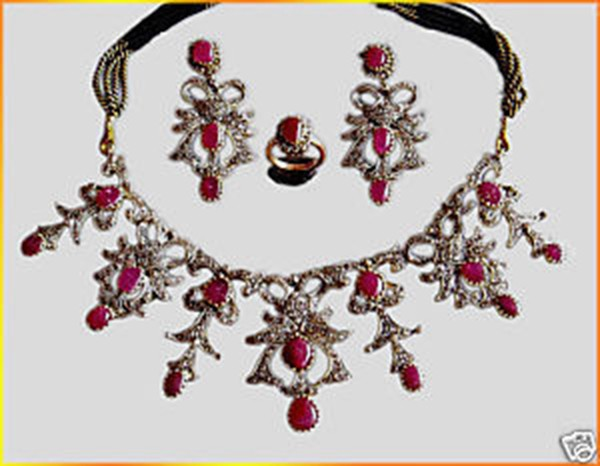 Antique Necklace 8 Ct Natural Certified Diamond Ruby 925 Sterling Silver Everyday