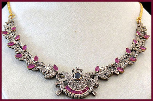 Victorian Necklace 7.68 Ct Natural Certified Diamond Ruby Sapphire 925 Sterling Silver Party