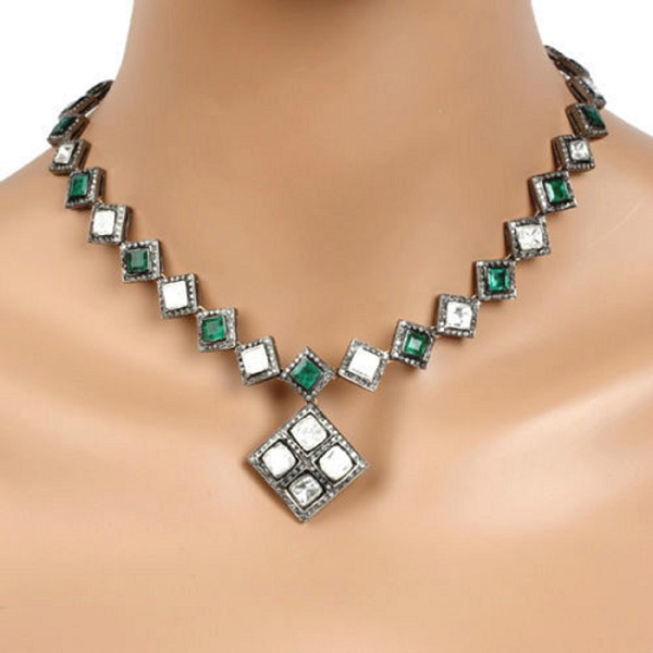 Vintage Style Necklaces 14.1 Ct Natural Certified Diamond Emerald 925 Sterling Silver Everyday