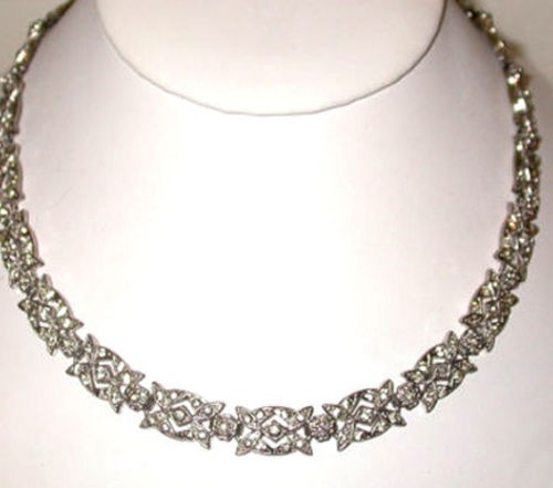 Antique Necklace 7 Ct Natural Certified Diamond 925 Sterling Silver Special Occasion