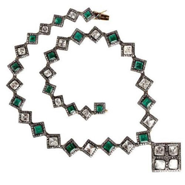 Vintage Necklaces 14 Ct Natural Certified Diamond Emerald 925 Sterling Silver Anniversary