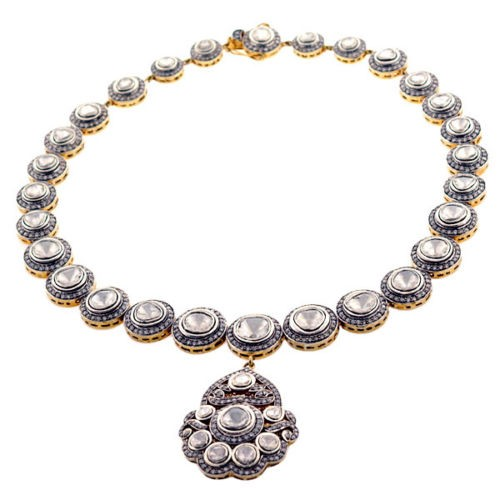 pin uncut vummidi necklace diamond bangaru jewellers