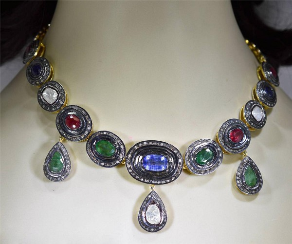 Victorian Necklace 5.45 Ct Natural Certified Diamond Emerald Ruby Sapphire 925 Sterling Silver Office Wear