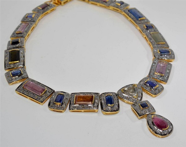 Vintage Necklaces 8.5 Ct Natural Certified Diamond Gemstone 925 Sterling Silver Festive
