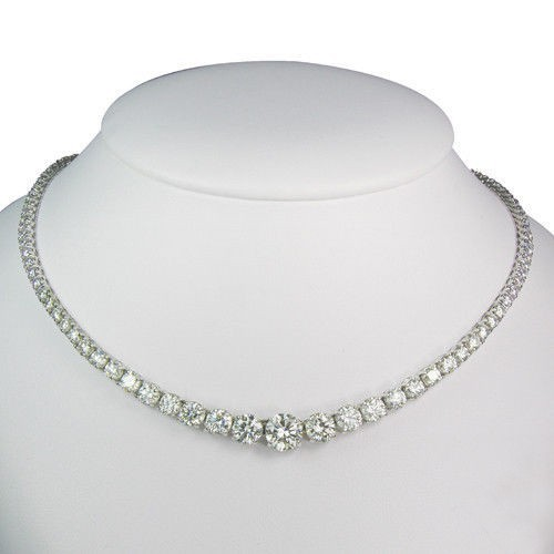 Tennis Necklaces 15.00 Ct Natural Diamond Solid White Gold String Anniversary Certified