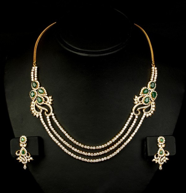 Diamond Tennis necklace set 25.00 Ct Natural Diamond 5.25 Ct Emerald Solid Gold Wedding String Certified