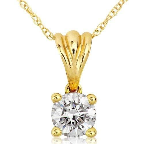 Diamond Pendant Necklace 0.55 Ct Solid Gold Single Solitaire Natural Certified