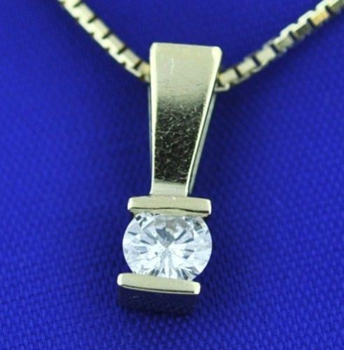 Diamond Pendant 0.35 Ct Solid Gold Solitaire Natural Certified