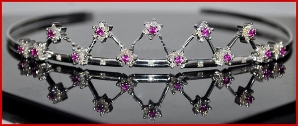 Certified Diamond Gold Tiara 5.65 Carat Natural Untreated Certified Diamond Ruby 14K White Gold Hair Accessories