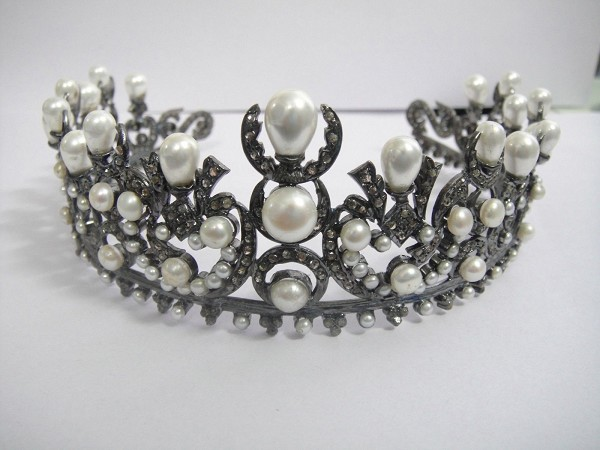 Birthday Tiara 15.50 Ct Diamond Pearl Sterling Silver Princess Crown Certified