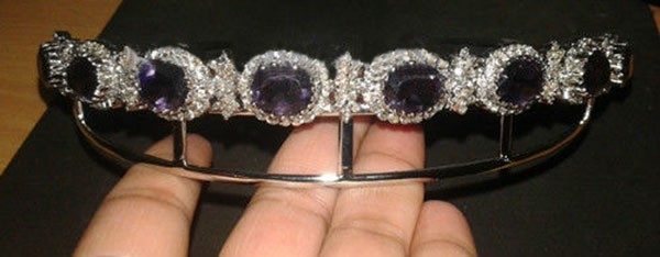 Princess Tiaras And Crowns 19.50 Carat Natural Untreated Certified Diamond Amethyst 14K White Gold Bridal Headpieces