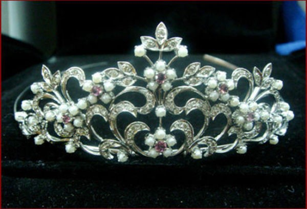 wedding headbands 12 Carat Natural Rose Cut Certified Diamond Sterling Silver Victorian Reproduction