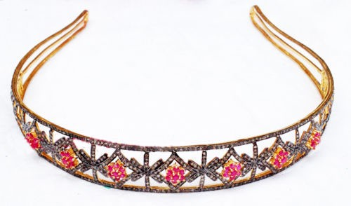 Tiara For Sale 23 Carat Natural Rose Cut Certified Diamond Sterling Silver Head Pieces