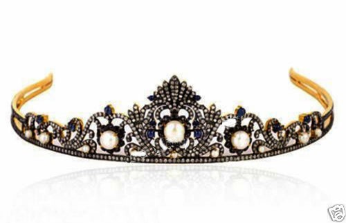 Diamond Tiara 21 Carat Natural Rose Cut Certified Diamond Sterling Silver Antique Victorian