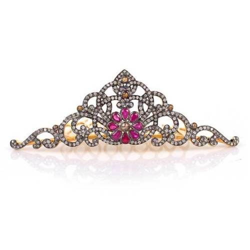 Princess Tiaras And Crowns 17 Carat Natural Rose Cut Certified Diamond Sterling Silver Art Deco