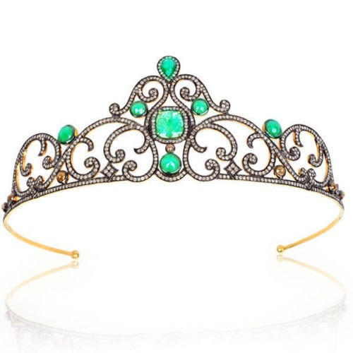 Princess Tiaras And Crowns 20.85 Carat Natural Rose Cut Certified Diamond Sterling Silver Hair Accessories