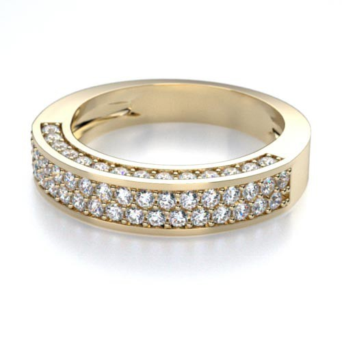 Ring Bands 1.50 Ct Natural Certified Diamond Solid Yellow Gold Wedding