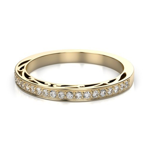 Diamond Wedding Bands 0.65 Ct Natural Certified Diamond Solid Yellow Gold Wedding