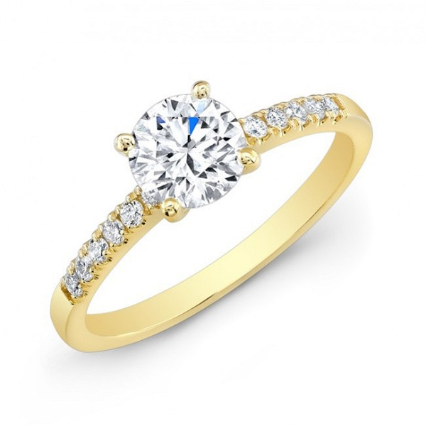Engagement Diamond Rings 1.00 Ct Cen 0.70 Ct Certified Diamond 18K Solid Gold