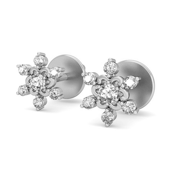 Diamond Drop Earrings 0.18 ct Natural Certified Solid Gold Studs