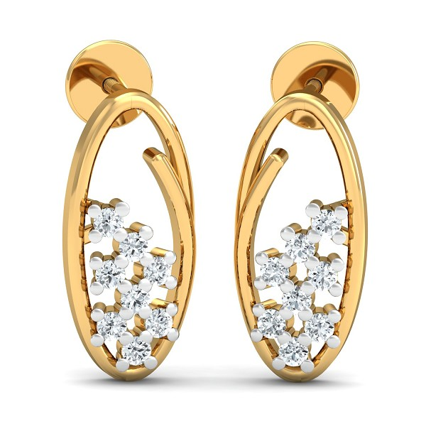 Gold Earrings 0.16 Ct Natural Certified Diamond Solid GoldWeekend