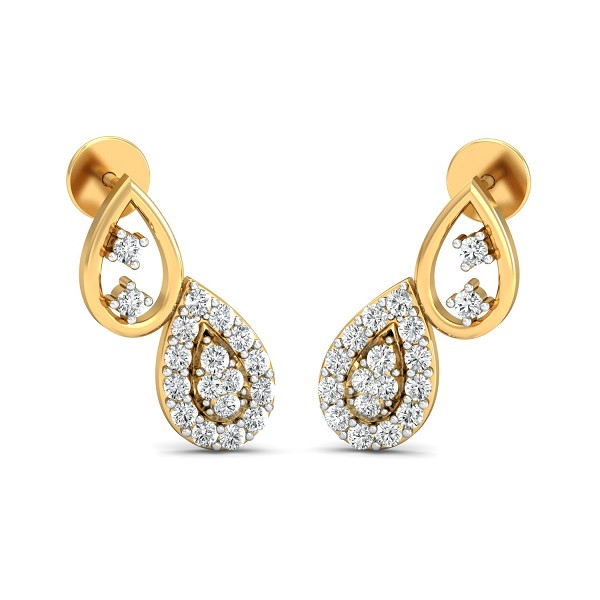 Diamond and Gold Earrings 0.37 Ct Natural Certified Festive
