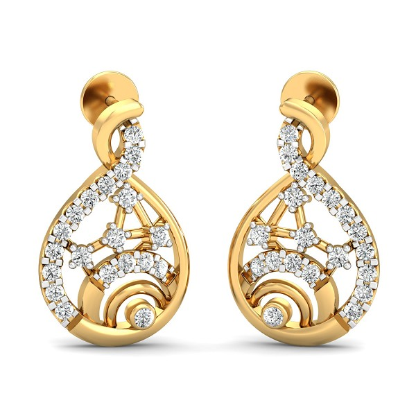 Designer Earrings 0.4 Ct Natural Certified Diamond Solid GoldEveryday