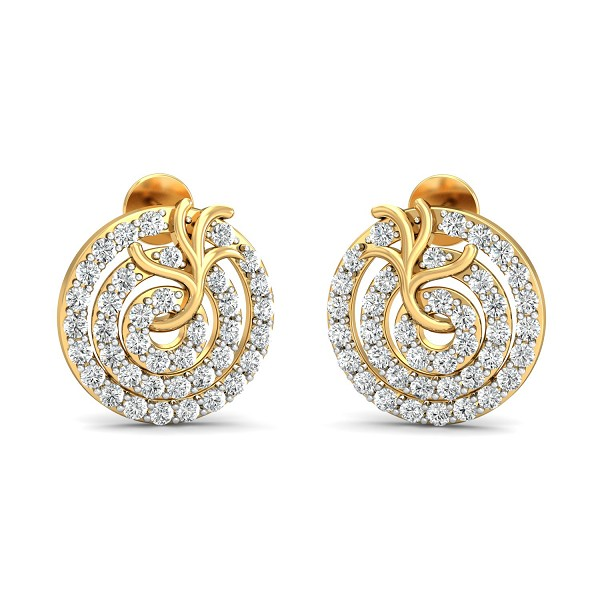Diamond and Gold Earrings 1 Ct Natural Certifed Workwear