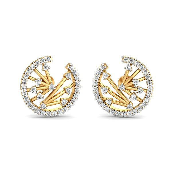 Gold Diamond Earrings 0.7 Ct Natural Certified Office Wear