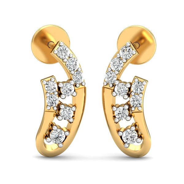 Diamond Earrings 0.19 Ct Natural Certified Solid Gold Special Occasion
