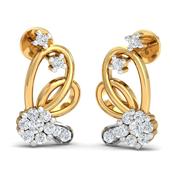 Diamond and Gold Earrings 0.35 Ct Natural Certified Festive