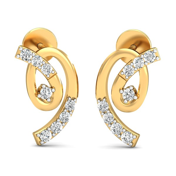 Gold Earrings 0.18 Ct Natural Certified Diamond Solid Gold Party