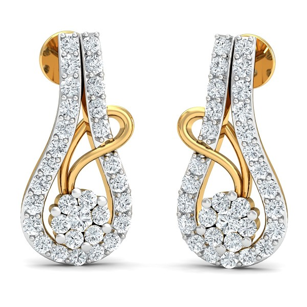 Gold Diamond Earrings 0.89 Ct Natural Certified Workwear
