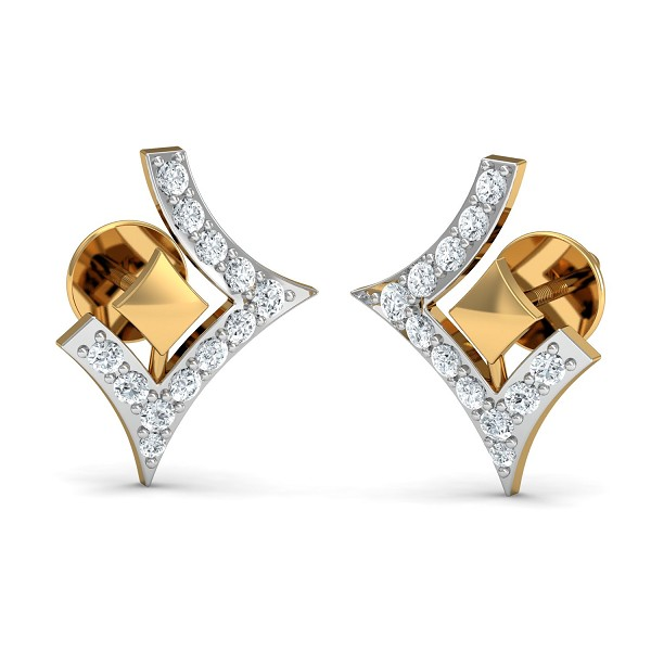 Diamond Earrings 0.15 Ct Natural Certified Gold Office Wear