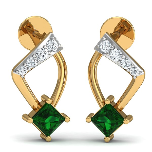Diamond and Gold Earrings 0.1 Ct Natural Certified Emerald Emerald Office Wear