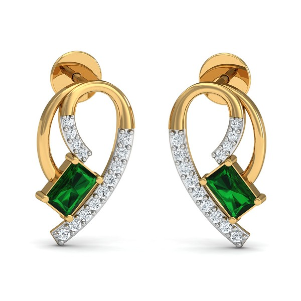 Gold Earrings 0.11 Ct Natural Certified Diamond Emerald Office Wear