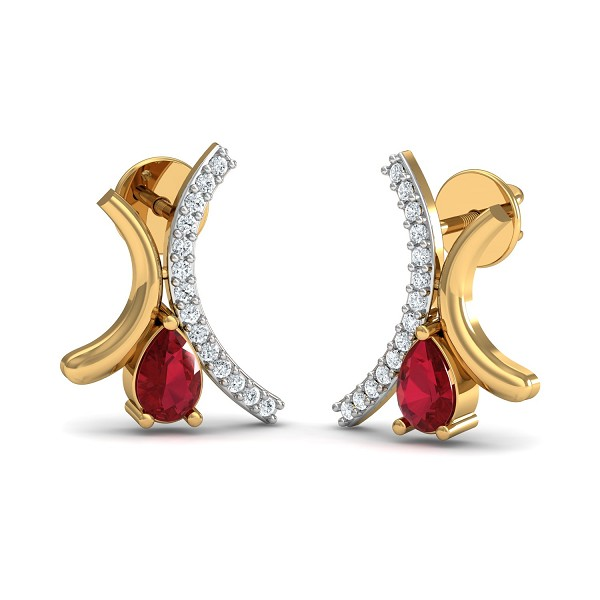 Gold Diamond Earrings 0.1 Ct Natural Certifed Ruby Festive