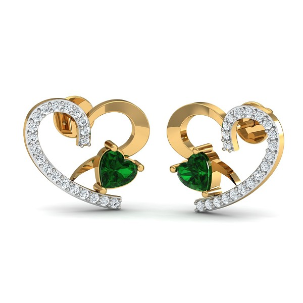 Diamond and Gold Earrings 0.2 Ct Natural Certifed Emerald Workwear