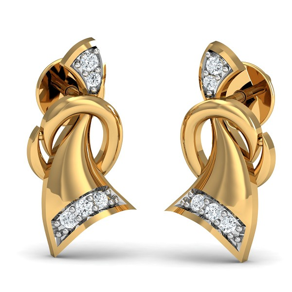 Diamond Earrings 0.05 Ct Natural Certified Solid Gold Vacation