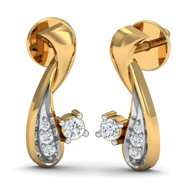 Diamond Earrings 0.05 Ct Natural Certified Solid Gold Special Occasion
