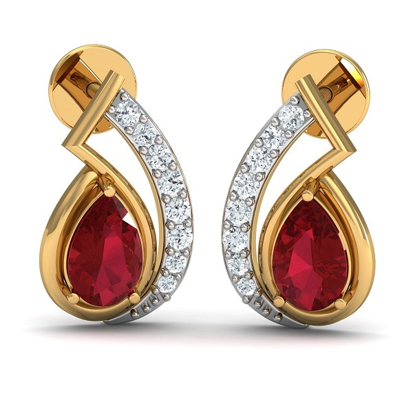 Gold Diamond Earrings 0.1 Ct Natural Certified Ruby Workwear