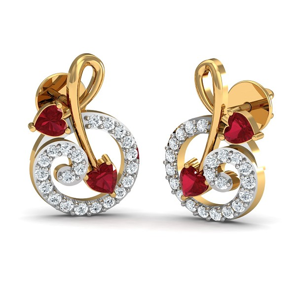 Diamond and Gold Earrings 0.23 Ct Natural Certified Ruby Office Wear