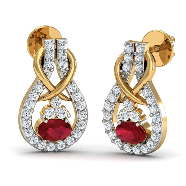 Diamond Earrings 0.26 Ct Natural Certified Solid Gold Ruby Weekend
