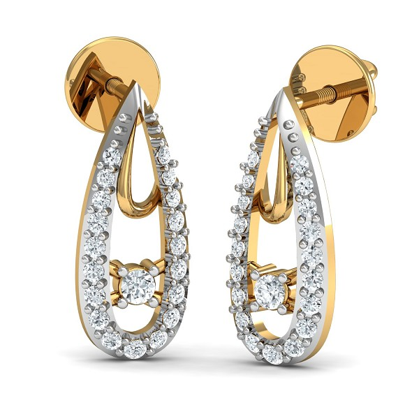 Diamond and Gold Earrings 0.43 Ct Natural Certified Workwear